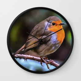 Plump Robin Perched On A Branch Wall Clock