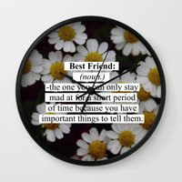 best friend Wall Clocks featuring Best Friend: by Sara Eshak