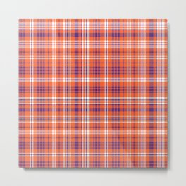 Varsity plaid purple orange and white clemson sports college football universities Metal Print