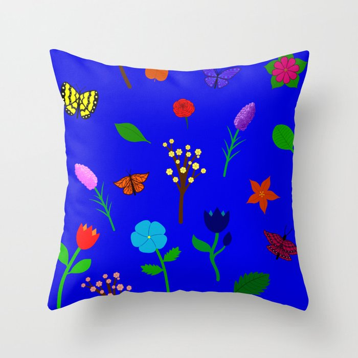 Scattered Flowers and Butterflies, blue background Throw Pillow