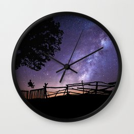 Childhood Dreams of the Milky Way lonely night color photography / photographs Wall Clock