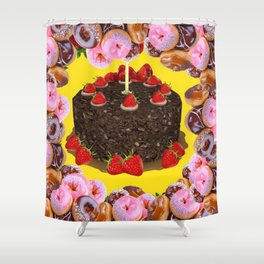 PINK FROSTED DONUTS BIRTHDAY PARTY Shower Curtain