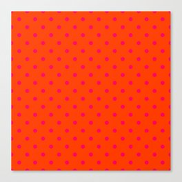 Orange Pop and Hot Neon Pink Polka Dots Canvas Print
