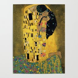 Curly version of The Kiss by Klimt Poster