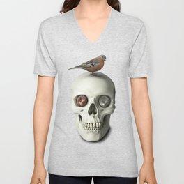 Skull & bird, watercolor Unisex V-Neck