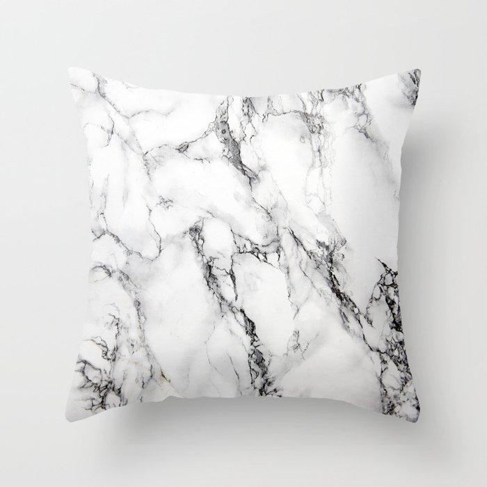 White Faux Marble Texture Deko-Kissen