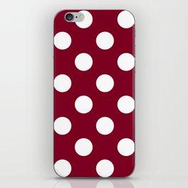Large Polka Dots - White on Burgundy Red iPhone Skin