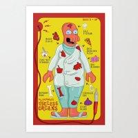 zoidberg Art Prints featuring Dr. Zoidberg's Useless Organs  by Josh Ln