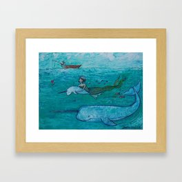 love in the ocean Framed Art Print