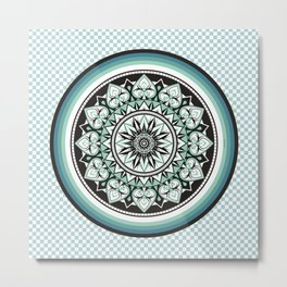 Mandala Design Sea Blue Aqua Theme Metal Print
