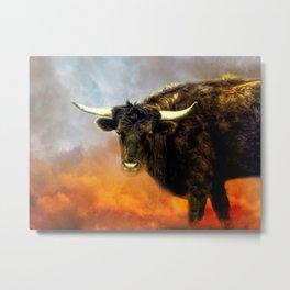 Long Horn Cow Farm Animal Farmhouse Art Modern Country Decor A387 Metal Print