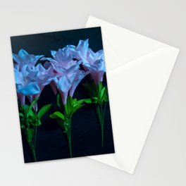 pink and blue flowers on black Stationery Cards