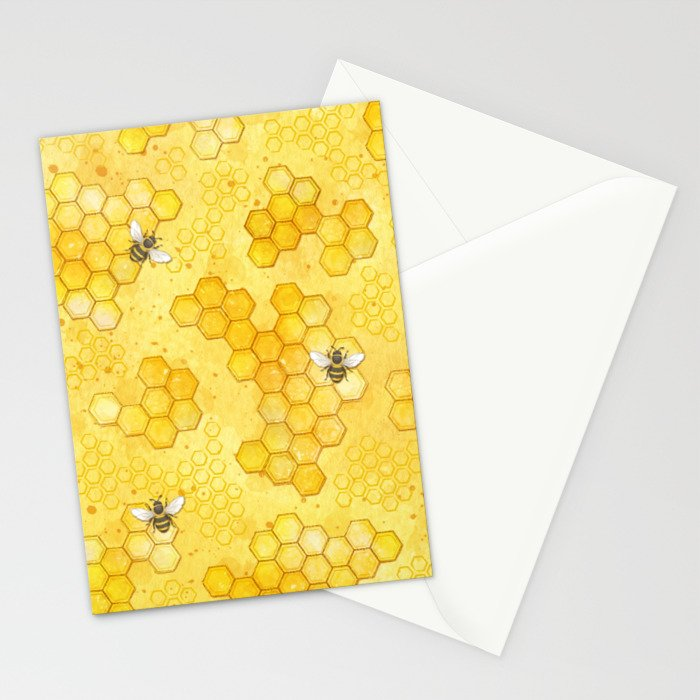 Meant to Bee - Honey Bees Pattern Stationery Cards