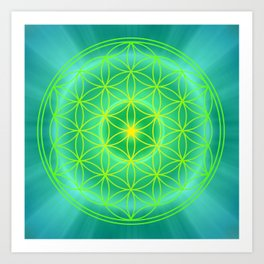 Flower Of Life Mandala - Green Art Print