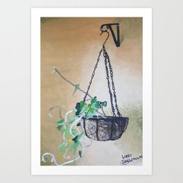 Oil paint on canvas painting of indoor morning glories sprouting. Plants, nature, hanging basket Art Print