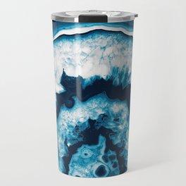 Blue White Agate #1 #gem #decor #art #society6 Travel Mug
