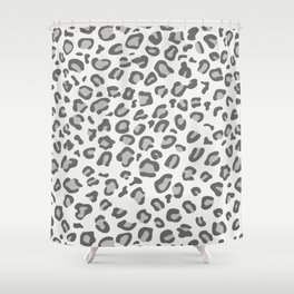 Gray Leopard Print Watercolor Shower Curtain