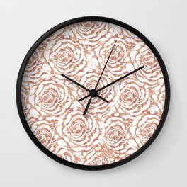Elegant romantic rose gold roses pattern image Wall Clock