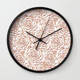 Elegant romantic rose gold roses pattern image Wall Clock