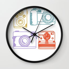 Vintage Camera Retro Color Pastel Hand Drawn Wall Clock