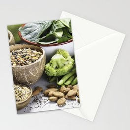 legumes, grains, seeds and organic vegetables Stationery Cards