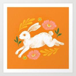 Jumping Rabbit and Flowers Art Print