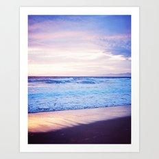 Purple Sunset over Hermosa Beach, Los Angeles  Art Print