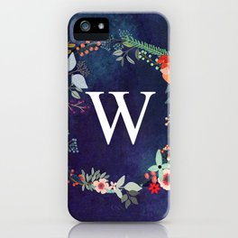Personalized Monogram Initial Letter W Floral Wreath Artwork iPhone Case