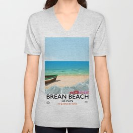 Brean Beach devon Unisex V-Neck