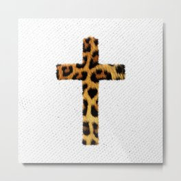 Fashion Leopard Pattern Cross Animal Print Metal Print