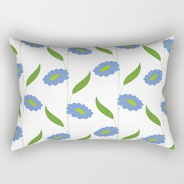 Floral stripes - blue and green Rectangular Pillow