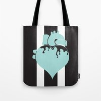 pastel goth Tote Bags featuring Pastel Goth Heart by Minette Wasserman