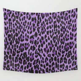 Animal Print, Spotted Leopard - Purple Black Wall Tapestry