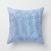fifth harmony Throw Pillows featuring Fifth Harmony Cartoon by Julia