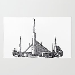 Dallas Texas LDS Temple Ink Drawing Rug