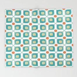 Abstract Flower Pattern Mid Century Modern Retro Turquoise Orange Throw Blanket