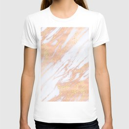 Marble - Rose Gold with Yellow Gold Glitter Shimmery Marble T-shirt