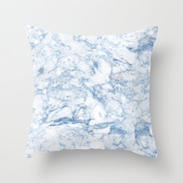 Modern stylish blue white trendy marble pattern Throw Pillow