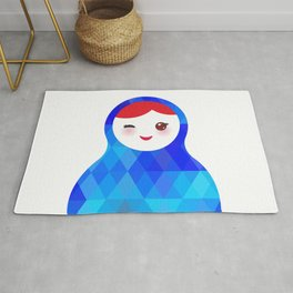 wink Russian doll matryoshka with bright rhombus on white background, blue colors Rug