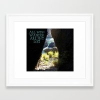 not all who wander Framed Art Prints featuring All Who Wander by Janet Crosby