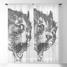 Freaky Cat B&W / Late 19th century illustration of very surprised cat Sheer Curtain