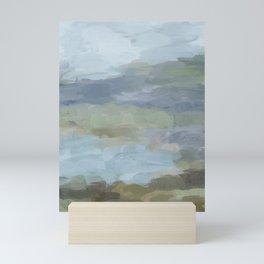 Diptych II - Sky Gray Blue Sage Green Abstract Wall Art, Painting Art, Lake Nature Print Portrait Mini Art Print