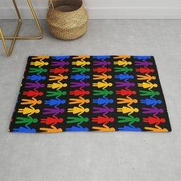 Rainbow People Pattern (black background) Rug