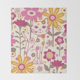 Garden Cat Throw Blanket