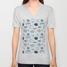 Fish Pattern - Cool Seacoast Watercolor Unisex V-Neck