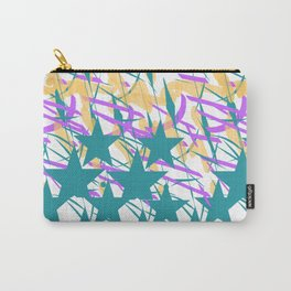 Turquoise Stars & Pastel Streemers Carry-All Pouch