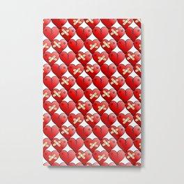 broken heart pattern white Metal Print