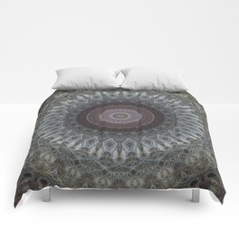 Mandala in grey and brown tones Comforters