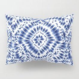 Indigo Blue Tie Dye Textile Pattern Pillow Sham