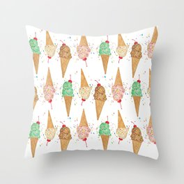 I Scream Pattern Throw Pillow
